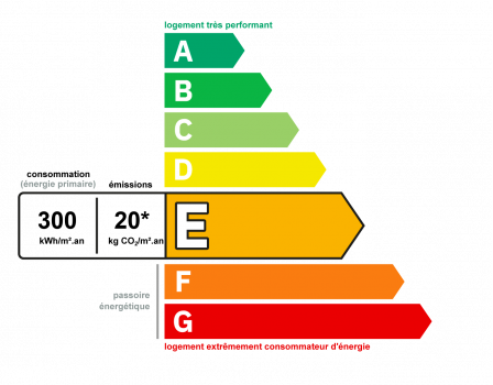 Diagnostic classe énergie : E indice : 300 kWhEP/m².an