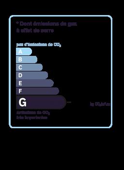 Diagnostic classe climat : G indice : 121 KgéqCO2/m².an